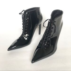 Zara Black Patent Lace Up Pointed Toe Ankle Bootie